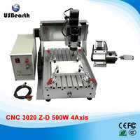 Russia Tax Free 4 Axis Mini Cnc Router 3020 500w Spindle For Woodworking 3d Engraving