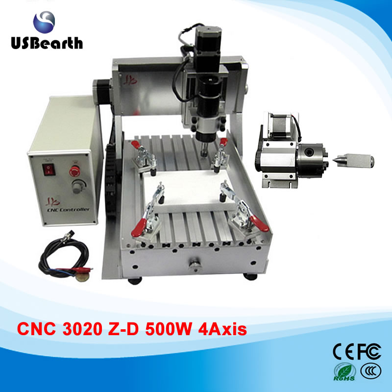 Russia tax free 4 axis mini cnc router 3020 500w spindle for woodworking 3d engraving no tax to russia cnc 5 axis t chuck type include a aixs