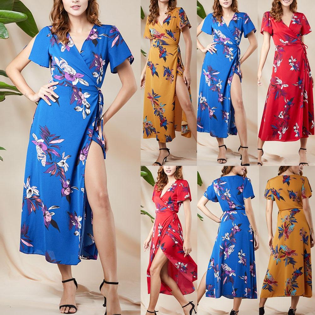 Mode femmes col en V à manches courtes Split impression robe mode pour été plage fête GM