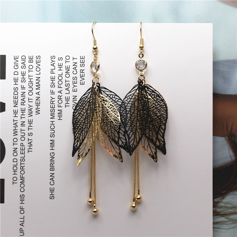 2018 new fashion brand jewelry personality style tassel leaf long earrings gold geometry earring for women gift