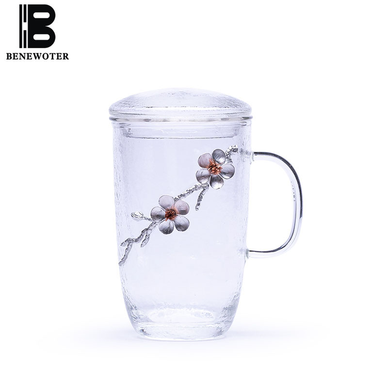 Thicken Glass Tea Cup with Filter Cover Tea Mug Transparent Heat Resistant Kung Fu Tea Set Office Master Cups Teaware Drinkware