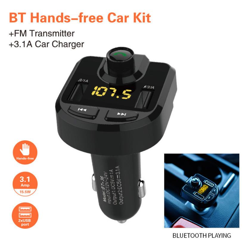 CARPRIE Bluetooth HIgh Quality Car Kit Car-Stylish FM Transmitter Wireless Radio Adapter MP3 Player Plus USB charger Mar15