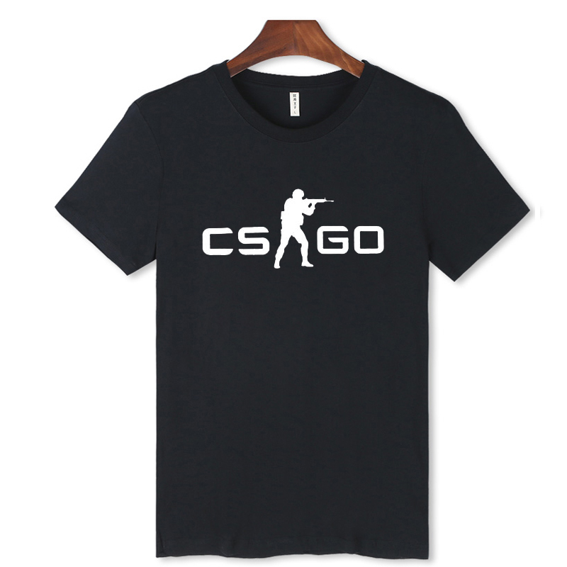 CS GO Counter Terrorists/CT White T-Shirt Men O-Neck with Black CS:GO t shirts Counter-Strike:Global Offensive Tee shirt