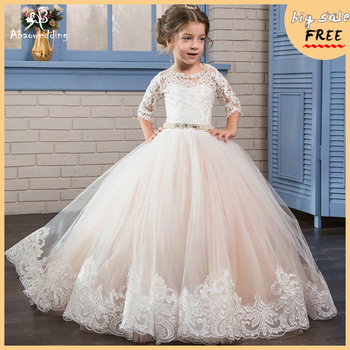 Adorable Girls Pageant Half Sleeves Dresses Satin Voile Appliques Crew Neck Baby Pink Elegant Ball Gown Evening Party Dress 2017