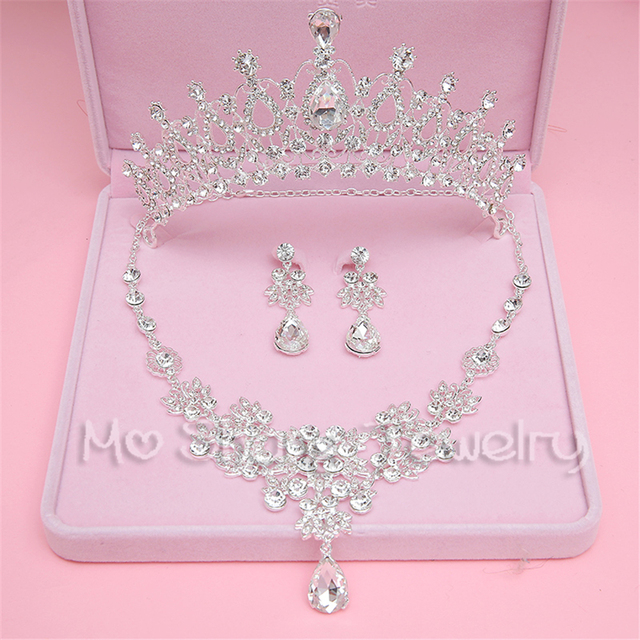 Fashion Silver Plated Bridal Wedding Jewelry Sets Crystal Tiaras