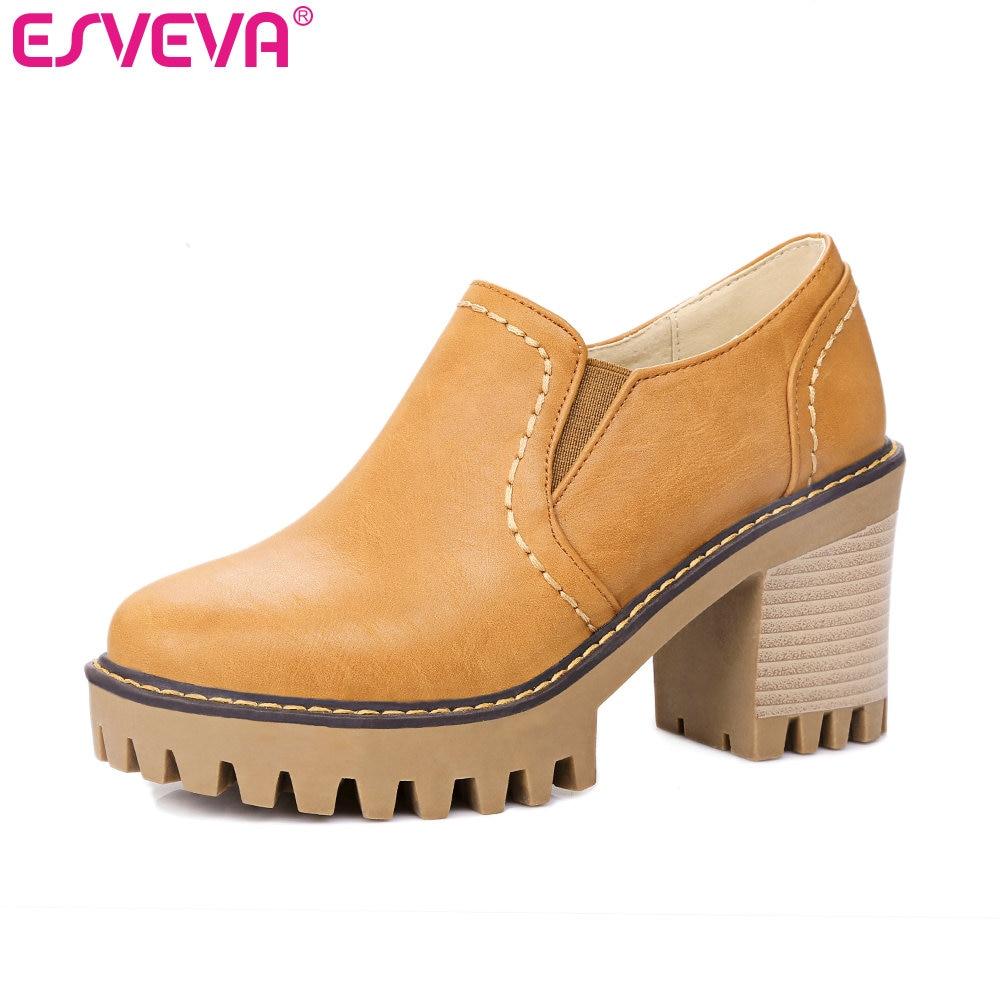 ESVEVA 2017 Women Pumps Gray Spring Autumn Women Shoes Square High Heel Pumps Round Toe Slip on Platform Casual Shoe Size 34-42