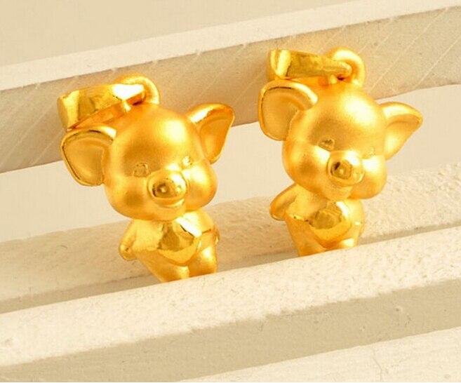 Лидер продаж; Новинка; 1 шт. 999 24 К желтое золото кулон 3D Симпатичные Свинья подвеска 1.9 г