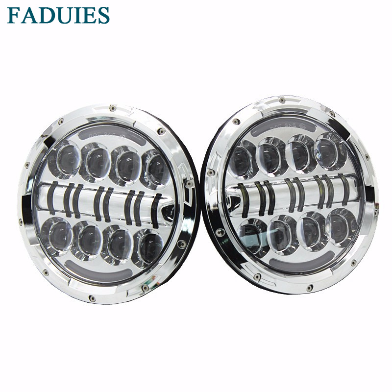 FADUIES 1 Pair Chrome Newest Car Led Lamp 80W 7 Inch Led Headlight With DRL For Jeep Wrangler Jk TJ Hummer H1 & H2 Led Headlamp