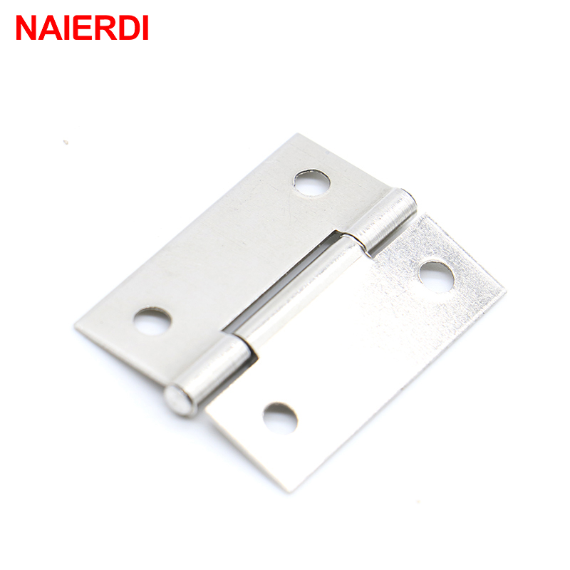 NAIERDI 20pcs Cabinet Hinges 1.5Inch Stainless Steel Mini Drawer Jewelry Box Silver Door Hinge For Decoration Furniture Hardware