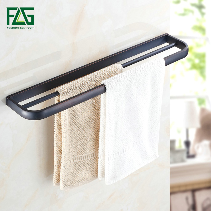 FLG Double Towel Bar Towel Holder Solid Brass Made Oil Rubbed Bronze Bath Products Wall Bathroom Accessories Free shipping 81308 free shipping solid brass made golden finish double towel bar towel holder towel rack bathroom accessories products og 27848c