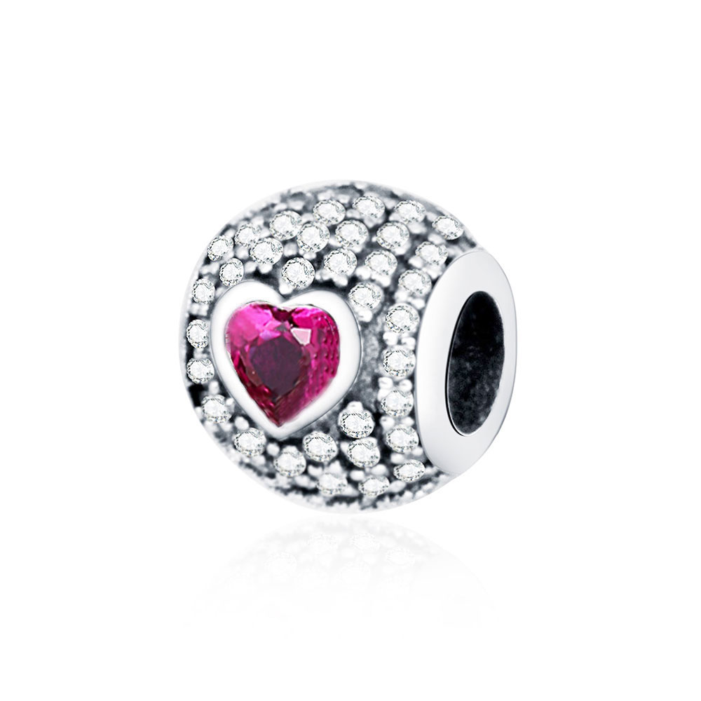 Authentic 925 Sterling Silver Bead Fit Original Pandora Charm Bracelets HEART PAVE SILVER CHARM WITH CLEAR AND FANCY PINK CZ