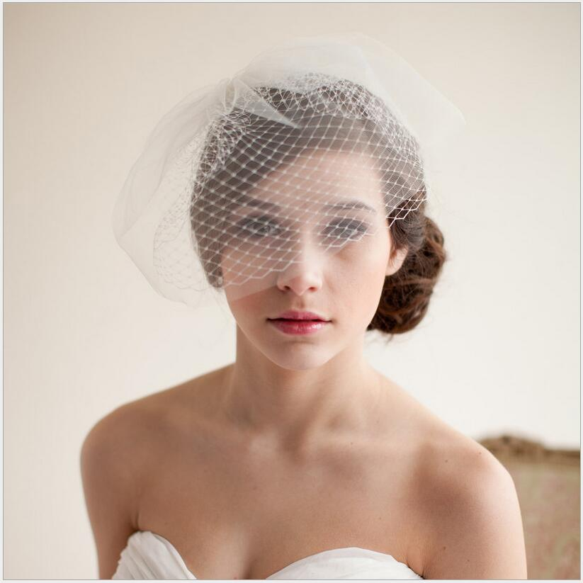 2020 Hot Sale Sexy See Through Bride White Tulle Net Bridal Hat Wedding Accessory For Bride In Stock