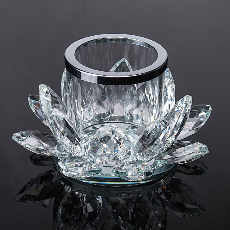 H D 2pcsHandcrafts Lotus Flower Glass Crystal Clear Tealight Candle Holders Table Wedding Centerpieces
