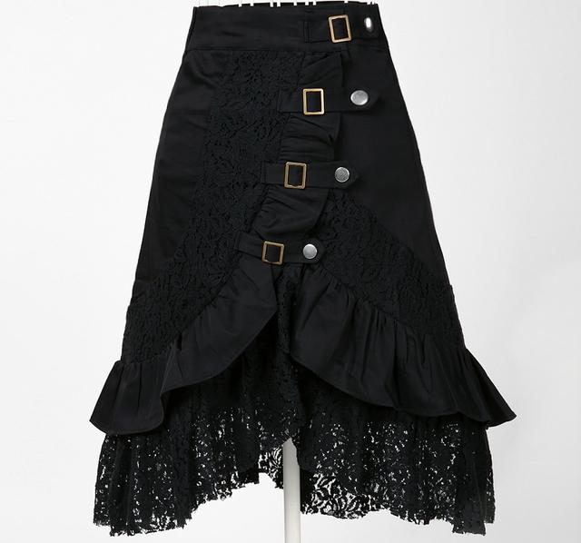 Ropa punk mujeres de la falda gótica dark party tema de metal desgaste de la calle harajuku ropa gótica jupe kustom kulture tatuaje del cordón negro