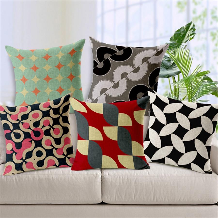 Plaid Cotton Linen Vintage Pillow Cover Home Decoracion For Sofa Cojines Geometricos Para Geometric Retro Cushion Cove Pouf e582