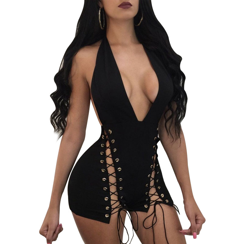 Summer Jumpsuit 2020 Women Black White Bandage Zipper Backless Jumpsuit Club Jumpsuits Fashion Bodycon V-neck Women Jumpsuit