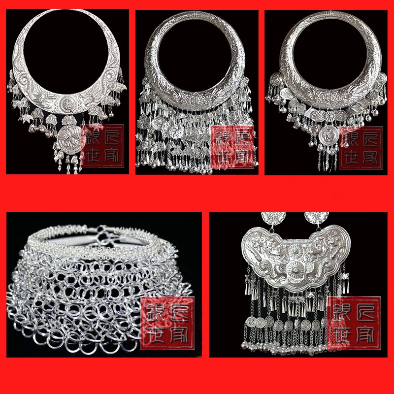 все цены на Hmong Silver collar necklace Miao silver collar miao dance accessory Chinese Folk Dance Hmong costumes accessoies