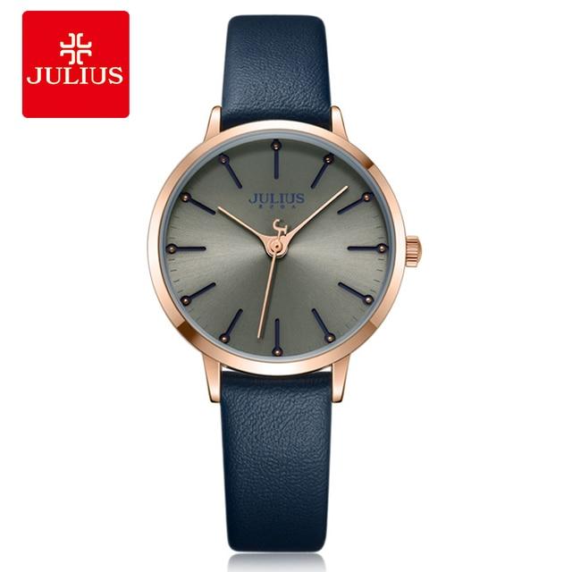 b0cab5b12f8 2018 Julius Mulher Elegante Relógio Whatch Relogio feminino Quartz Relógio  de Pulso Simples Designer Coreano Freeshipping