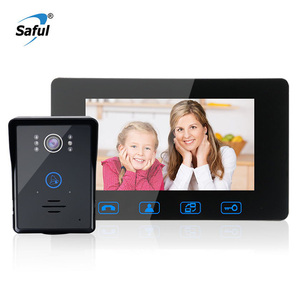 Image 1 - Saful Wired אינטרקום וידאו 7 עמיד למים מערכת נעילה אלקטרוני 220 v פעמון צג ראיית לילה בית דירה דלת טלפון