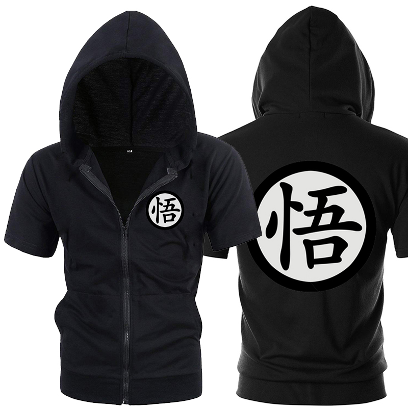 Casual Drôle Imprimer Dragon Ball Goku Hoodie Hommes Noir Gris Cosplay Sweat Mode À Manches Courtes Zipper Hommes Hoodies Vestes