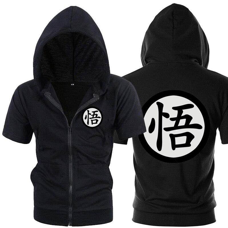 Casual Funny Print Dragon Ball Goku Hoodie Men Black Gray Cosplay Sweatshirt Fashion Short Sleeve Zipper
