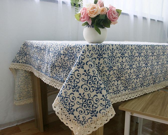 LYN&GY New Retro Blue White Table Cloth with Lace Cotton Print Chinese Style Rectangular Dinning Tablecloths Cover Home Decor