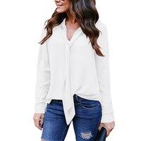 Celmia sólido V Masajeadores de cuello lazo patchwork pullover blusa otoño mujeres ocio simple slim fit manga larga negocio elegante camisa Retro