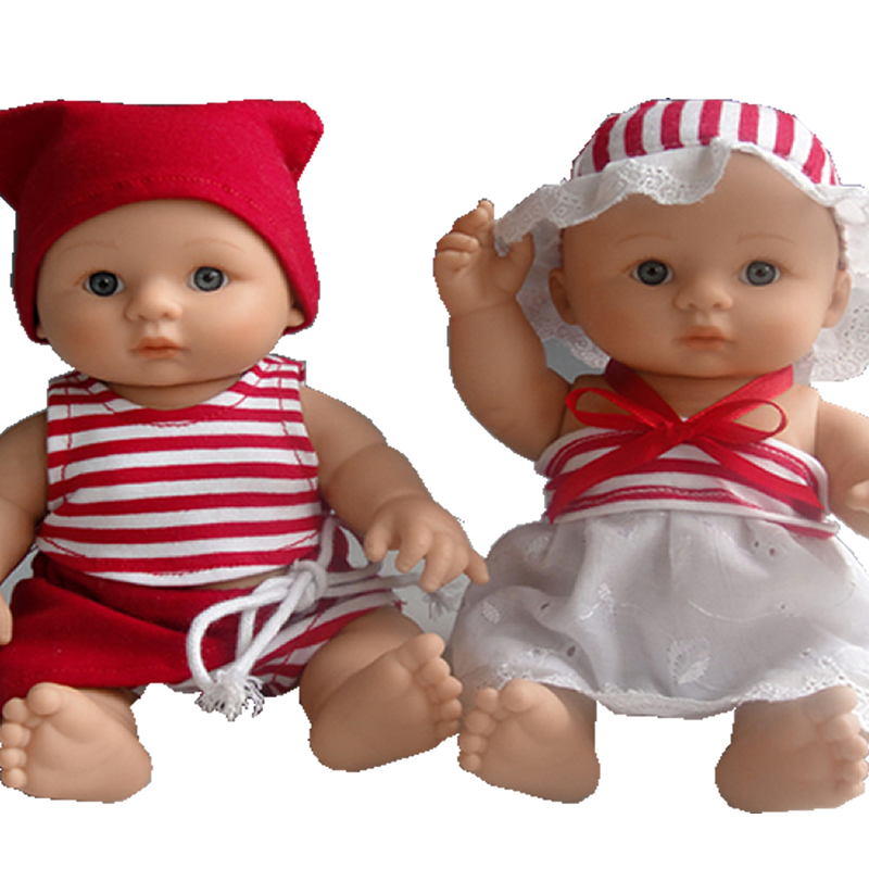 ФОТО 8 Inch Doll Reborn Girl And Boy Lifelike Mini Full Body Silicone Vinyl Newborn Babies Twins With Lovely Clothes Kids Playmate