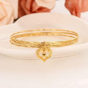 Gold bangles 18 k Solid Fine Gold Finish Lines 3 hoop bundle bangle bracelet Women jewelry Charm Hang Pendant Heart