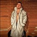Hombres abrigo de piel de imitación de Imitación de piel de zorro parkas manga larga gruesos abrigos chaqueta de abrigo de invierno para los hombres Más El Tamaño XXXL