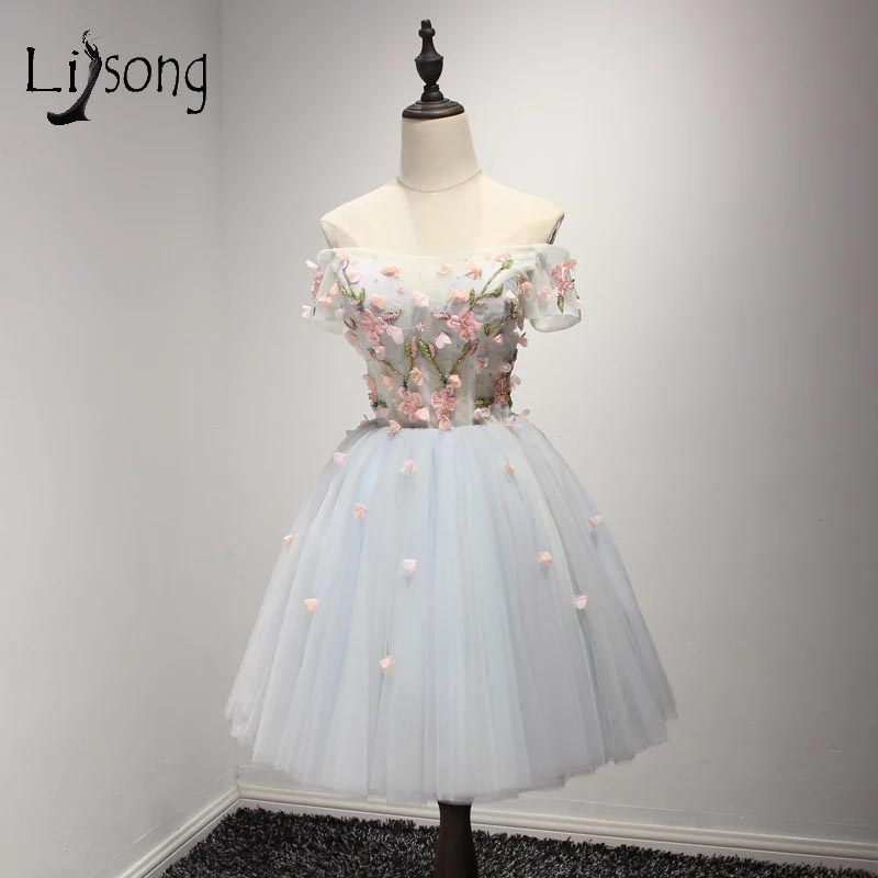 Sweet 3D Flower Mini   Cocktail     Dresses   Sexy Boat Neck Formal Graduation   Dresses   For Homecoming Robe   Cocktail   Courte Chic A106