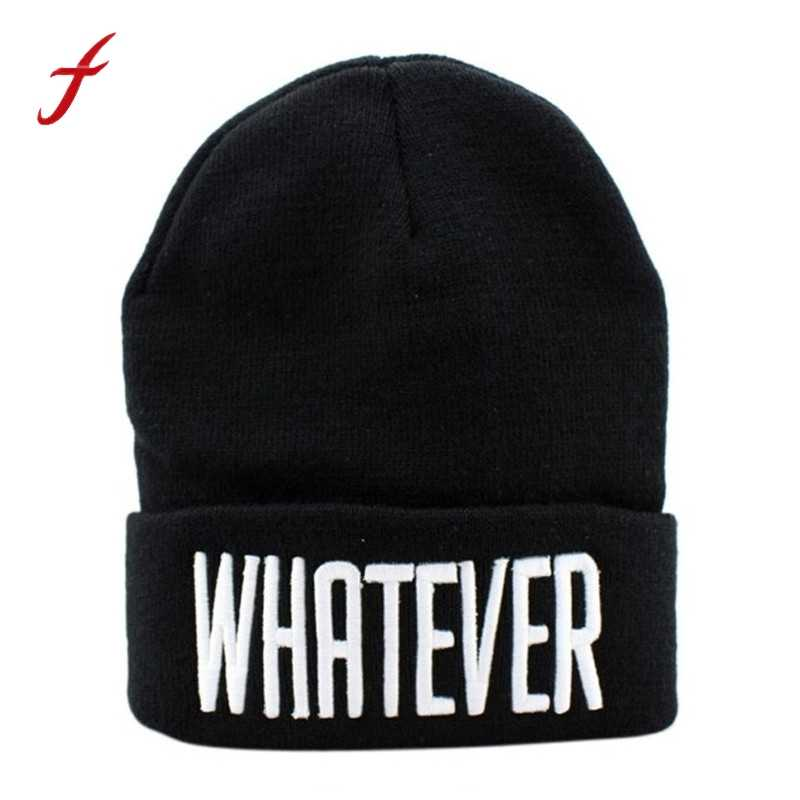 7f374ac48b1 Winter Black Whatever Beanie Hat And Snapback Men And Women Cap Winter Warm  Unisex Knit Ski