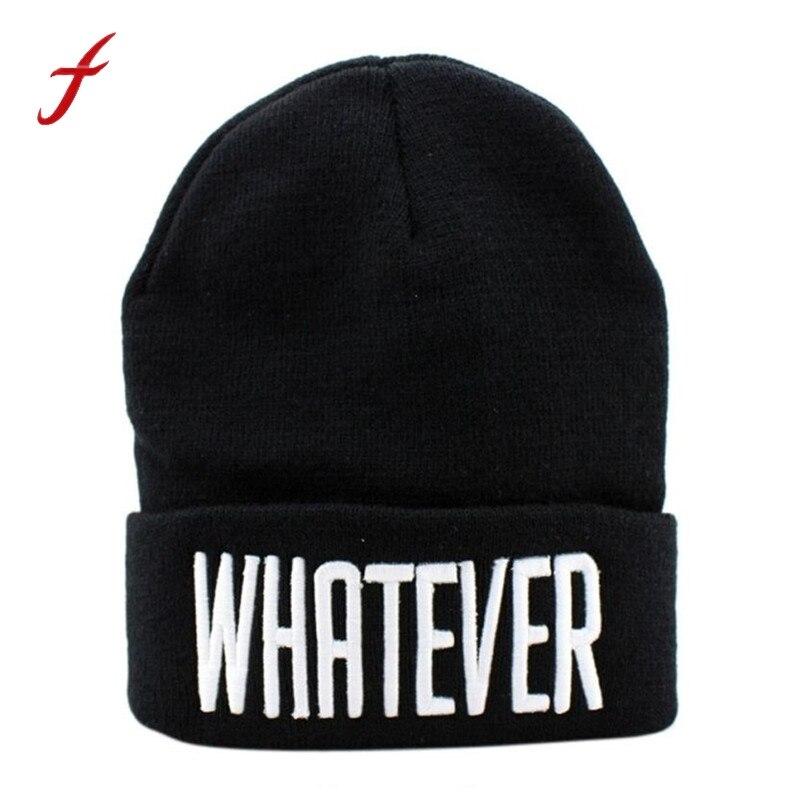 Winter Black Whatever Beanie Hat Snapback Men And Women ski Cap Skullies  snap aaacb85043