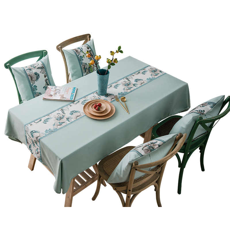 Luxury Christmas Tablecloth Upscale Jacquard Linen Cotton Blue Peony Flower Rectangle Table cloth Pillow Cover Home Textile