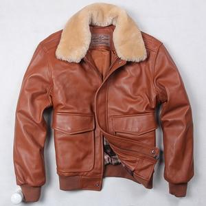 Image 4 - Avirex Chaqueta de vuelo de la Fuerza Aérea para hombre, chaqueta de cuero genuino con cuello de piel, abrigo de piel de Oveja Negra y marrón, chaqueta Bomber de invierno
