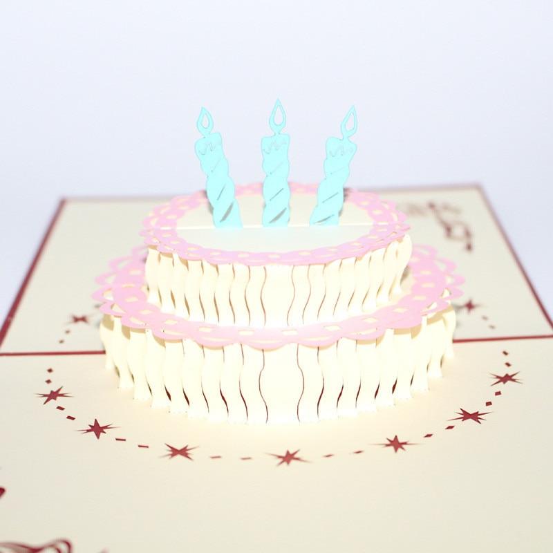 20pcslot 3d Pop Up Handmade Laser Cut Vintage Cards Birthday Cake