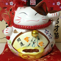 5 Inch 7 Inch 9 Inch Ceramic Lucky Cat Ornaments Piggy Small Medium Or Large Business