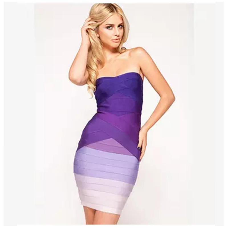 2017 Sexy Gradient Strapless Purple knitting Bandage Dress Ladies Knitted Bodycon women Dresses women sexy slim summer dress knitted bandage ruffles strap mini knitting dresses women club dresses