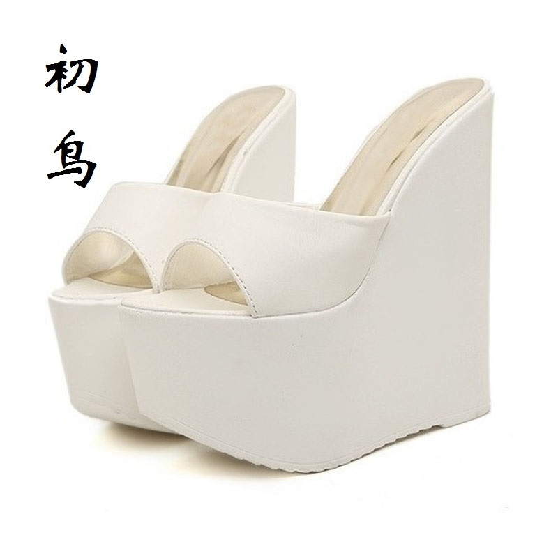 2017 White Wedges Slippers Sexy Women Platform Sandals Ladies Pumps High Heels Shoes Woman Summer Style Chaussure Femme Black