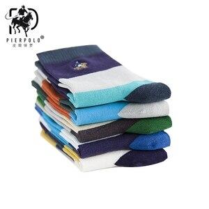 Image 3 - PIER POLO Calcetines de algodón para hombre, calcetín informal, bordado de negocios, Multicolor, 5 pares, venta al por mayor