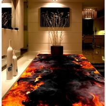 Огонь фото пол обои 3d на заказ фото самоклеющиеся 3D Пол фото обои для пола стены на заказ 3d ПВХ водонепроницаемый пол