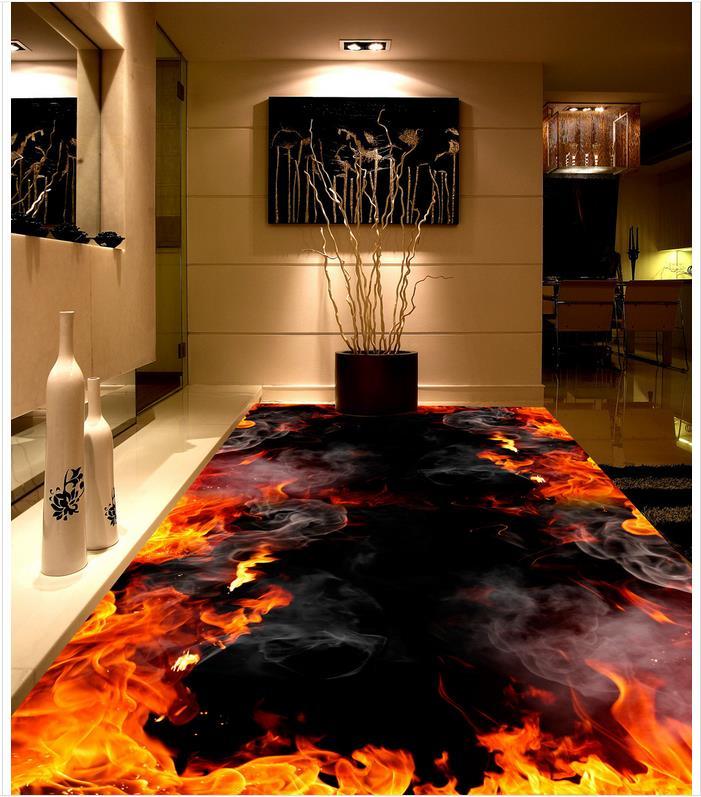 Fire Photo floor wallpaper 3d Custom Photo self-adhesive 3D floor Custom photo floor wallpaper 3d PVC waterproof floor
