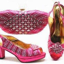 722cb25ecb9030 Offres spéciales fushia chaude rose sandale chaussures et embrayages sac  bas taille du talon 38 à 42 avec beaucoup de pierres sa.