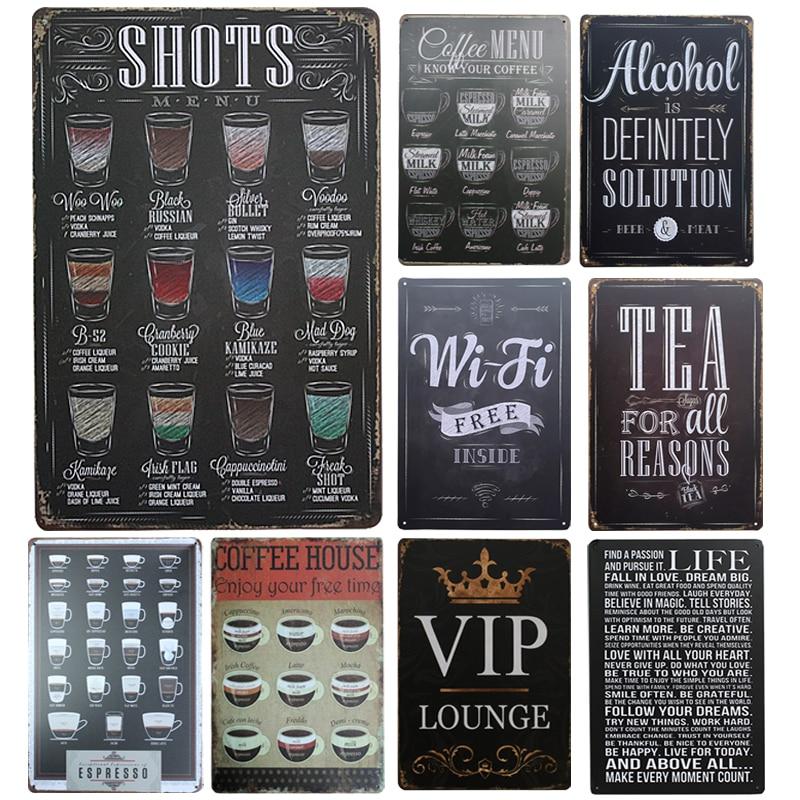 New Drink Menu Chic Home Bar Vintage Metal Signs Home Decor Vintage Tin Signs Pub Vintage Decorative Plates Metal Wall Art(China)