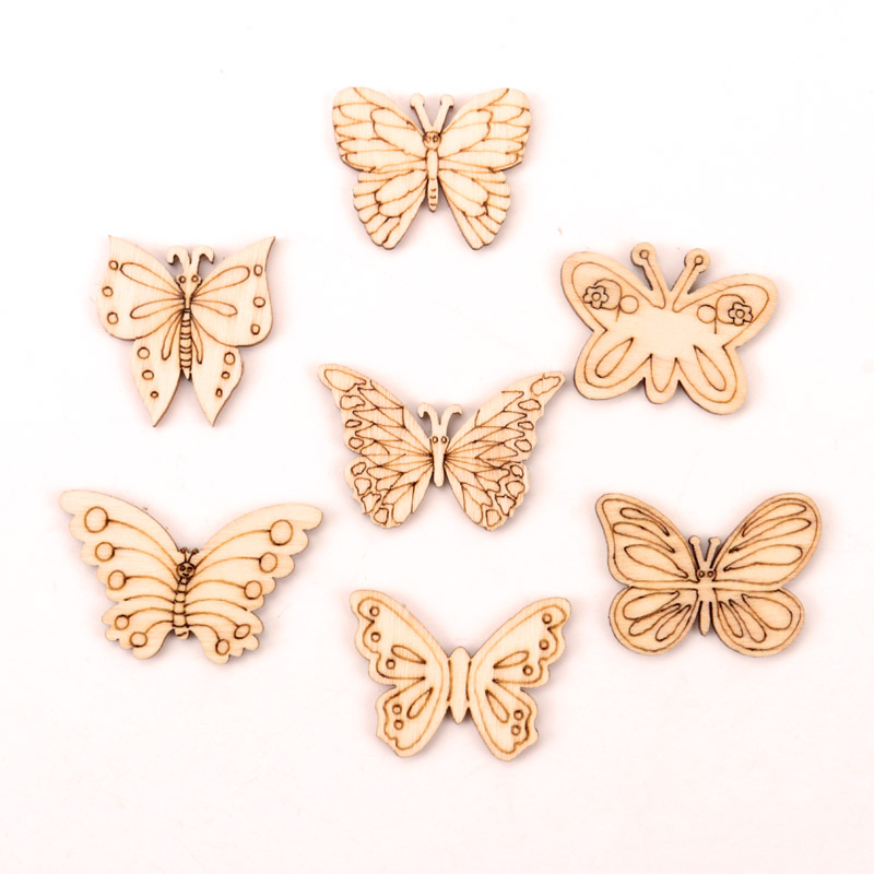 Handmade Wooden Crafts Accessories Home Decoration Scrapbooks Children Painting DIY Mix Butterfly Wood Ornaments 30-40mm 20pcs