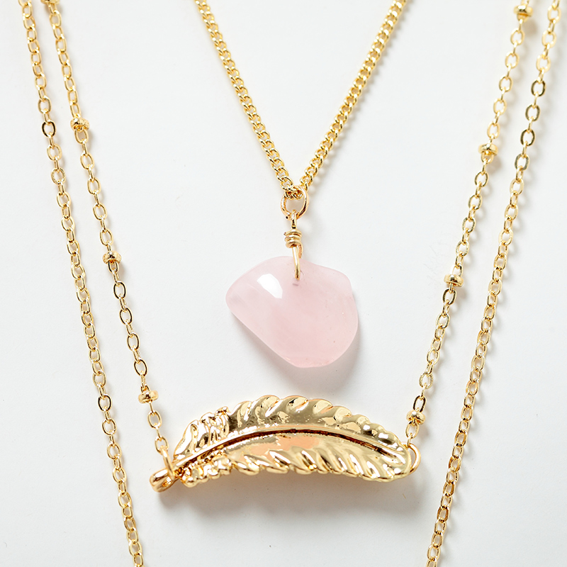 Women 3 Layer Necklace & Pendant Gold Leaf Pink Natural Stone Multilayer Sweater Chain Collar Necklace Jewelry Gift  5