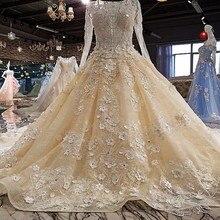 2018 lace beading flowers long sleeves wedding dresses