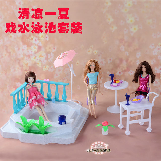 Doll Furniture Sunshine Corner pool  play set for Doll House bathing suit Toys for Girl 1/6