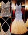 Cristales brillantes sin respaldo baile vestidos sirena larga vestidos del desfile opacidad