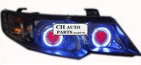 FREE SHIPPING, KIA FORTE ANGEL EYE HEADLIGHT ASSEMBLY, WITH DEMON EYE AND BI XENON PROJECTOR